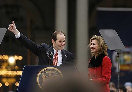 Eliot Spitzer with wife Silda at last year's gubernatorial inauguration (Photo: Nancie Battaglia)