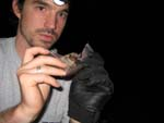 Biologist Jonathan Hootman studies a long-eared bat