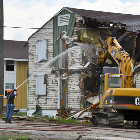 WW II-era barracks being demolished to make way for new housing. File photo: Army Corps of Engineers