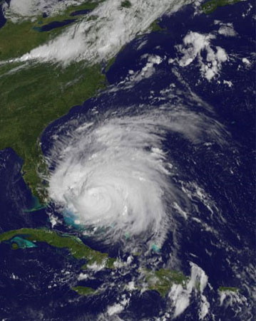 Irene as of Thursday, August 25. NASA/NOAA photo.