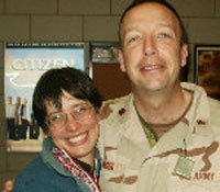 Eric and Susan Olsen celebrate his homecoming from Iraq (NCPR file photo)