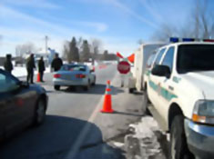 A traffic stop in Waddington (NCPR File Photo)