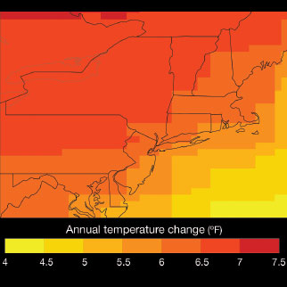 Figure 1.6a Projected change in annual temperature for the 2080s in the Northeast relative to the 1980s baseline period. (NYSERDA Report)