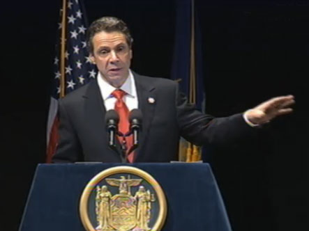 Governor Andrew Cuomo delivering Tuesday's budget address in Albany.