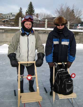 Hugh Graham (left) and a fellow kick sledder, Jan. 2011. Photo: Lucy Martin
