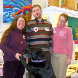 The St. Lawrence County Arts Council's Hilary Oak (with arts mascot Venus), Robert Fowler and Suzy McBroom in Potsdam.