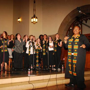 The St. Lawrence University Community Gospel Choir singing in Gunnison Chapel. Photo: SLU