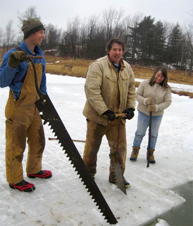Cuttting and prying loose the blocks of ice. Photo: Sustainble Living Project
