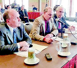 Essex County officials testify during a mandate relief hearing at the Conference Center at Lake Placid on Friday. Photo: Chris Morris, courtesy Adirondack Daily Enterprise
