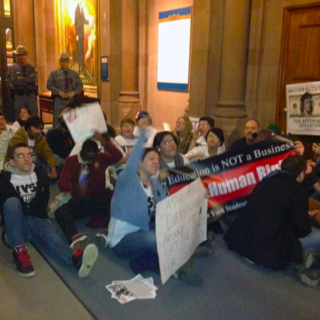 College student protest in Albany Monday. Photo: Karen DeWitt.