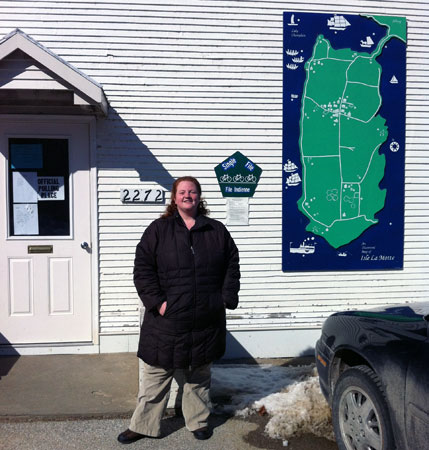 Tara Liloia in front of Isle La Motte town offices. Photos: Sarah Harris