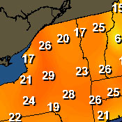 Numbers indicate the degrees above normal high temperature for this date. Source: HAMweather.com