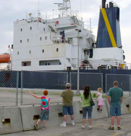 Watching a ship pass through the Eisenhower Lock at Massena. Photo: Brian Mann