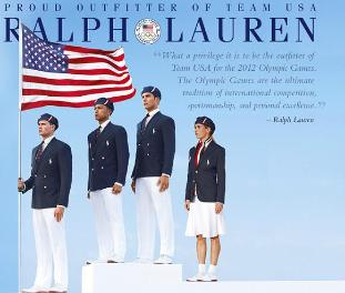 Ad by designer Ralph Lauren promoting the uniforms made in China.