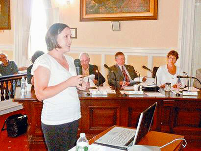 North Country SPCA board member Jessica Hartley speaks to Essex County lawmakers about the need for a task force on animal cruelty. Photo: Chris Morris, courtesy <em>Adirondack Daily Enterprise</em>
