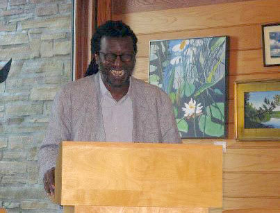 Cornelius Eady reading and talking ab out his nature poetry at ACW's event at Paul Smiths VIC. Photo courtesy Adirondack Center for Writing