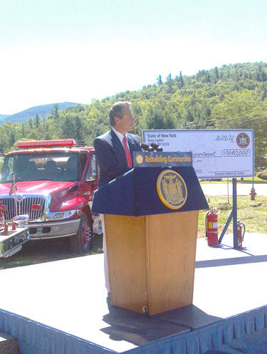 Gov. Andrew Cuomo speaking in Keene, N.Y. yesterday Photo: Brian Mann