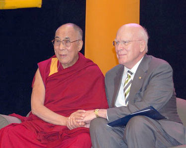 The Dalai Lama and Vermont Senator Patrick Leahy. Photo: Sarah Harris