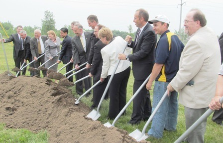 Elected officials and Alcoa leaders break ground at the Massena East plant. Photo: Julie Grant