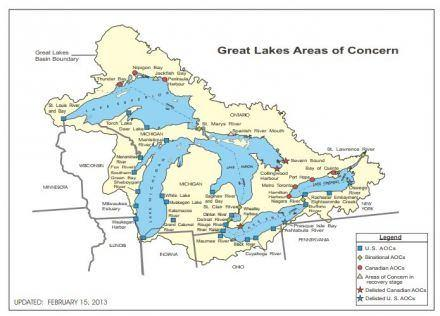 Great Lakes areas of concern. Graphic: US EPA