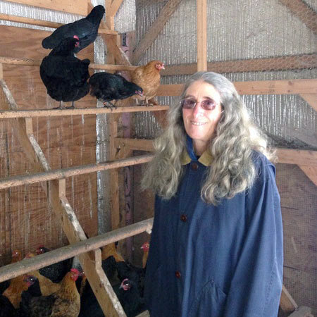Roseanne Gallagher, with chickens. Photo: Sarah Harris.