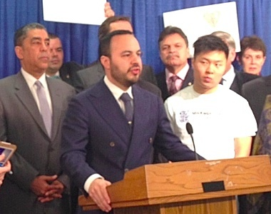 Assemblyman Francisco Moya speaking in support of the NYS DREAM Act. Photo: Karen DeWitt