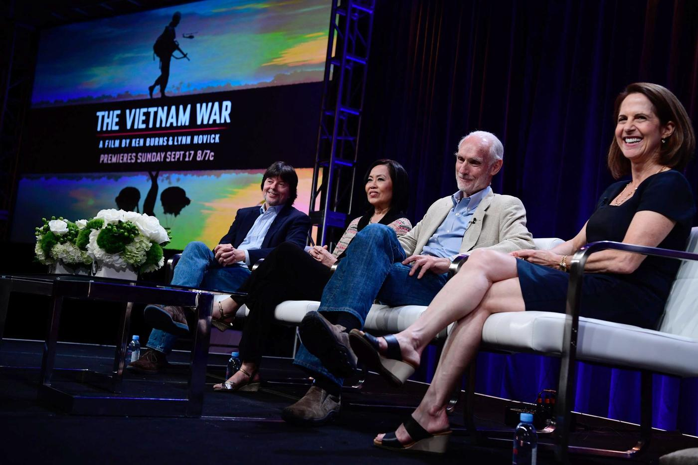 "Filmmakers Ken Burns (far left) and Lynn Novick (far right) discuss their Vietnam War documentary at a TV critics event in July. Photo: Rahoul Ghose, PBS. """