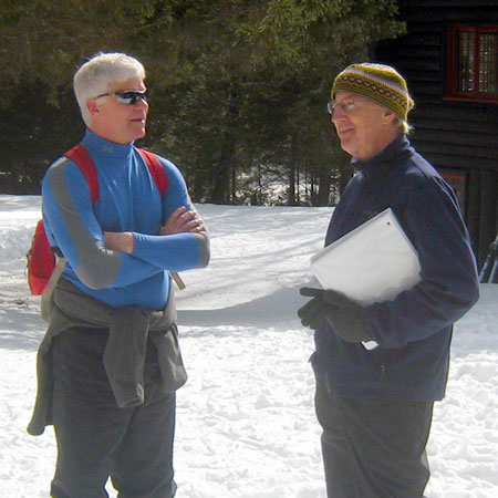 DEC Commissioner Joe Martens (L) and Adirondack Architectural Heritage director Steven Engelhart at Santanoni Great Camp (Photo:  Willem Monster)