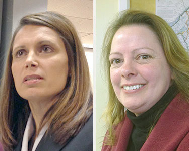 Democrat Nicole Duvé (left) faces a challenge from Republican Mary Rain for St. Lawrence County district attorney. Photos: David Sommerstein