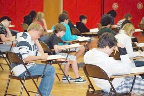Saranac Lake middle school students take the state standardized English language arts test in April 2012 in the school's gymnasium. Photo: Chris Knight via Adirondack Daily Enterprise