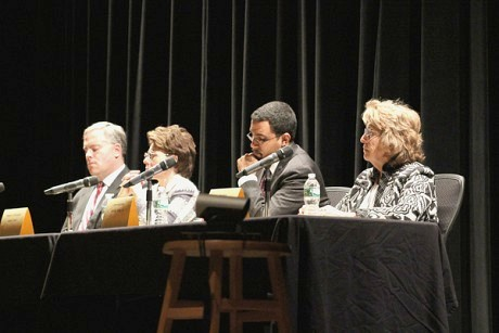 State Senator Betty Little (at right) helped organize the forum, which included Assemblyman Dan Stec (left), Board of Regents Chancellor Merryl Tisch, and state education Commissioner John King. Photo: Ian Lowe, high school senior at Schroon Lake Central School, used by permission