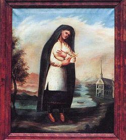 The earliest known portrait of Kateri Tekakwitha. Source: Wikipedia