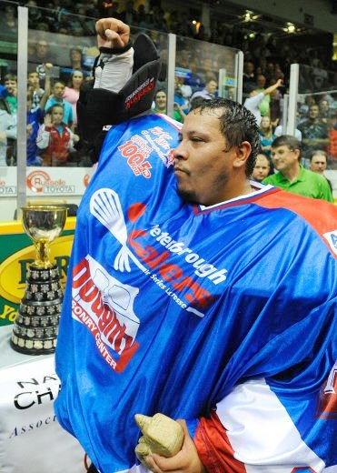 Mike Thompson celebrates with the Mann Cup on Saturday.  [photo courtesy of Danielle Lazore-Thompson]
