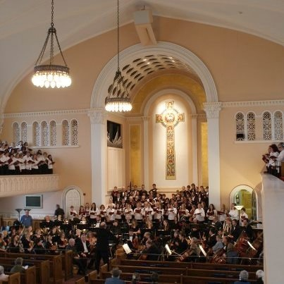 The Orchestra of Northern New York, Northern Choral Society and Potsdam Community Chorus at First Presbyterian Church in Watertown in October, 2012.  Photo: Northern Choral Society