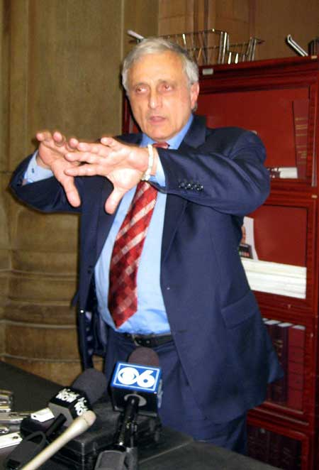 Carl Paladino meets reporters in Albany yesterday. Photo by Karen DeWitt
