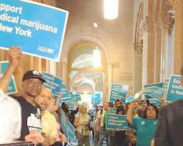 Medical marijuana advocates demonstrating in hallway outside Gov. Cuomo's offices. Photo: Karen DeWitt