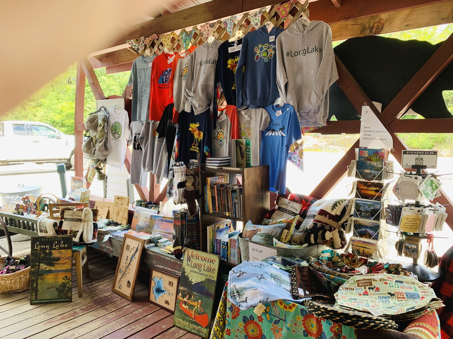 Souvenirs and gifts on the covered porch of the ADK Trading Post. Photo: courtesy Vickie Sandiford