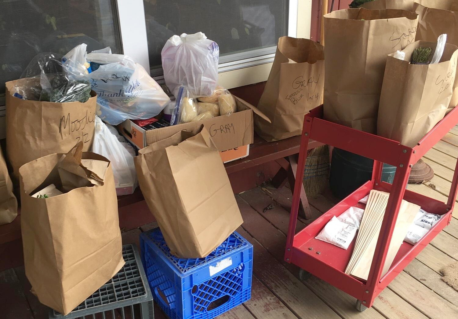 Bags of groceries waiting on the porch. Photo: courtesy Vickie Sandiford