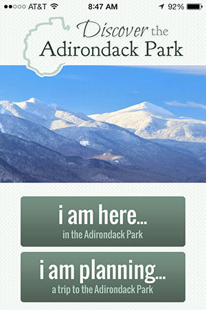 Screenshot of the Discover the Adirondack Park app.