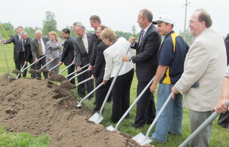 Elected officials and Alcoa leaders break ground at the Massena East plant last July. Photo: Julie Grant