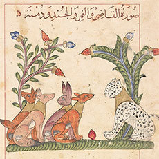 "Illustration for a 1354 edition of <em>Kalilah wa-Dimnah</em> (The Fables of Bidpai). <a href=""http://treasures.bodleian.ox.ac.uk/The-Fables-of-Bidpal"">Bodleian Libraries</a>, University of Oxford"