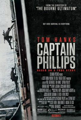 "Film poster for ""Captain Phillips"" which has been nominated for six Academy Awards."