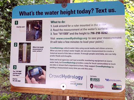 Instructions for 'CrowdHydrology.' Photo: Ashley Hassett
