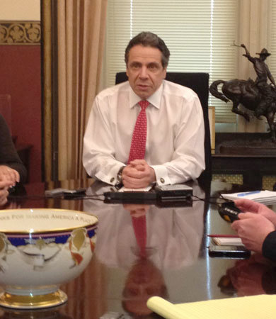 Governor Cuomo speaking with reporters in his office Thursday