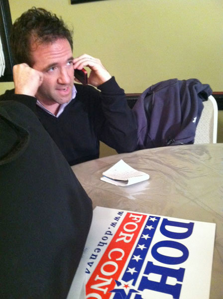 NCPR reporter David Sommerstein calls in an live update from Matthew Doheny's campaign headquarters in Watertown. Photo: David Winters