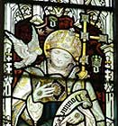 A stained glass image of St. David