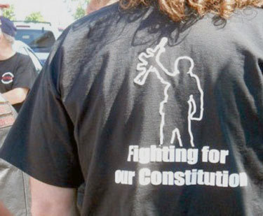 A demonstrator's T-shirt makes his views clear at the Lowville rally opposing the NY SAFE Act. Photo: Joanna Richards