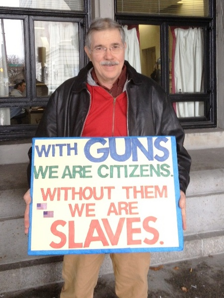 James Lytle of Horseheads at the Feb. 28, 2013 anti-gun control rally in Albany. Photo: Karen DeWitt