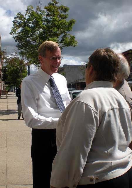 Conservative Doug Hoffman greets voters during a stop in Canton (Photo:  M. Foley)
