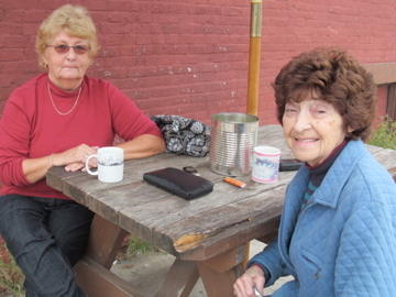 Retired nurse Jackie Hartle and hairdresser Judy Redmond want to help keep the hospital open. Photo: Julie Grant